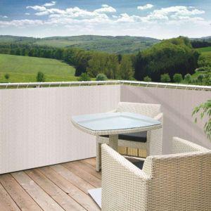 Windhager Brise vue pour balcon en polyéthylène haute densité 85% occultant 5m x hauteur 0,9m SYLT blanc