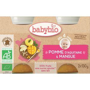 BabyBio Petits pots Pomme mangue 2 x 130g - dès 4 mois