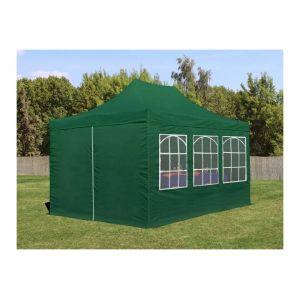 Intent24 Tente de Réception Vert Foncé 3 x 4,5 m avec Fenêtres