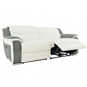 7974988abce95a Canapé 3 places relax électrique en cuir et microfibre ARENA II - Blanc gris