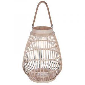 """Lanterne Design """"Rattan"""" 44cm Naturel Prix"""