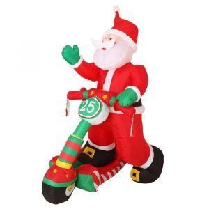 Père Noël gonflable et lumineux en scooter