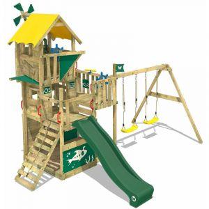 Wickey Aire de jeux Portique bois Smart Engine avec balançoire et toboggan vert Cabane enfant exterieur avec bac à sable