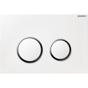 Geberit 115.778.KJ.1 - Plaque de déclenchement Sigma20 synthétique double touche pour UP320 UP720 blanc-chromé brillant-blanc