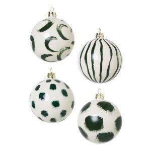Ferm Living Boule de Noël / Set de 4 - Verre peint à la main vert en verre
