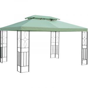 Outsunny Toile de rechange pour pavillon tonnelle tente 3 x 4 m polyester haute densité imperméabilisé 180 g/m² vert