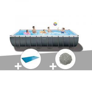 Intex Kit piscine tubulaire Ultra XTR Frame rectangulaire 7,32 x 3,66 x 1,32 m + Bâche à bulles + 20 kg de zéolite