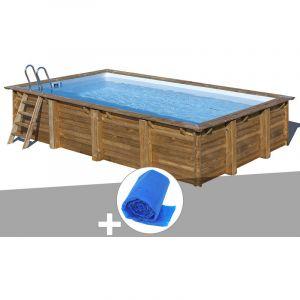 Sunbay Kit piscine bois Evora 6,00 x 4,00 x 1,33 m + Bâche à bulles