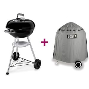 Weber Compact Kettle 47 cm - Barbecue au charbon sur pieds + housse