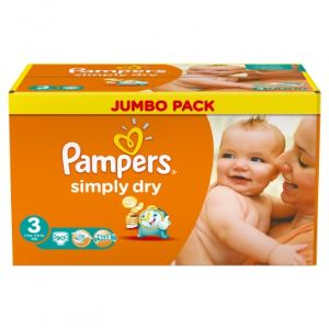 Pampers Simply Dry taille 3 Midi (4-9 kg) - Jumbo Pack 90 couches