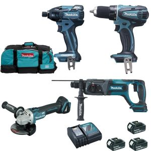 Makita Ensemble de 4 machines 18V Li-Ion 5Ah : DGA504 + DDF456 + DHR241 + DTD129