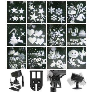 Lotti XmasKING Projecteur LED d'extérieur noël - 12 motifs - 4 x 3 W - Blanc