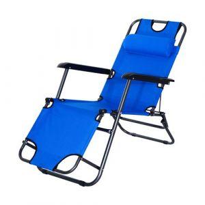 Outsunny Chaise Longue inclinable transat Bain de Soleil 2 en 1 Pliant têtière Amovible Charge Max. 136 Kg Toile Oxford Facile d'entretien Bleu