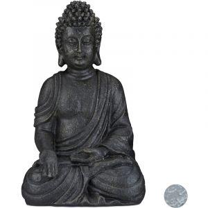 Relaxdays Statue de Buddha Figurine de Bouddha décoration Jardin Sculpture céramique Zen 40 cm, Gris foncé, grisfoncé