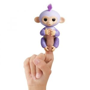 Wow wee Fingerlings Bébé singe ouistiti pailleté mauve