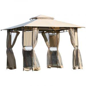 Outsunny Tonnelle barnum style colonial double toit toiles moustiquaires amovibles 3L x 3l x 2,60H m coloris sable