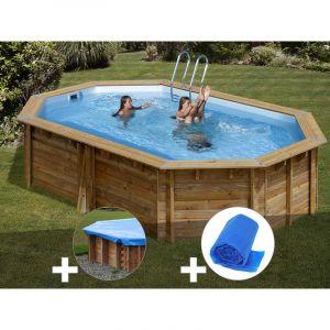 Sunbay Kit piscine bois Cannelle 5,51 x 3,51 x 1,19 m + Bâche hiver + Bâche à bulles