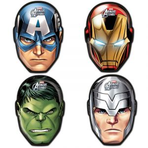 6 masques en carton Avengers Mighty
