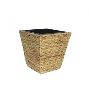 Pot de fleur carré en jacint d'eau tressée 28 x 28 x 30 cm Marron naturel clair