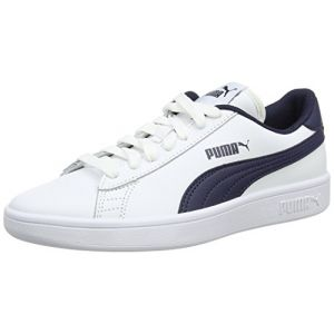Puma Smash V2 L Jr, Sneakers Basses Mixte Enfant, Bleu White-Peacoat, 38 EU