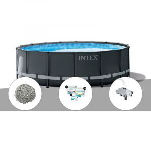 Intex Kit piscine tubulaire Ultra XTR Frame ronde 5,49 x 1,32 m + 20 kg de zéolite + Kit de traitement au chlore + Robot nettoyeur
