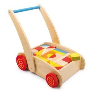 Equilibre et aventure Chariot de marche en bois à roulettes avec cubes