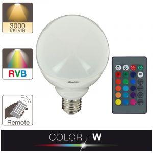 Xanlite Ampoule LED, culot E27, 11W cons. (75W eq.), lumière blanc chaud ou lumière RVB selection par télécommande