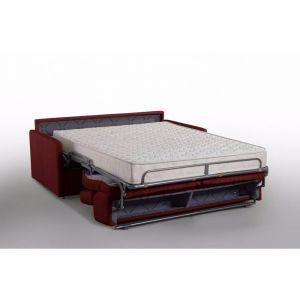 Inside75 Canapé lit MONTMARTRE en microfibre bordeaux convertible express couchage 140cm matelas 18cm sommier lattes RENATONISI