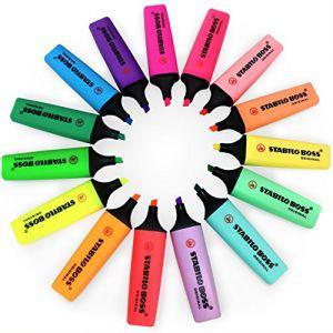 Stabilo Boss – Lot de 15 surligneurs aux couleurs fluo et pastel assorties