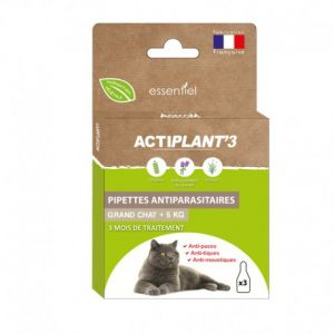 Actiplant'3 Pipettes Antiparasitaire pour Grand Chat - 3x1ml