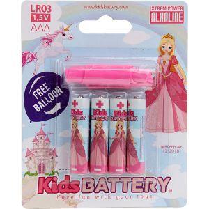 Kidsbattery Alkaline princesses - Lot de 4 piles AAA/LR03