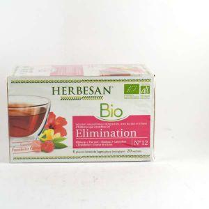 Herbesan Infusion hibiscus, framboise, citron élimination bio - Boîte de 20 sachets