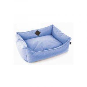 Martin Sellier Corbeille Bleue avec Coussin Amovible pour Chien Domino 60 x 45 x 23 cm