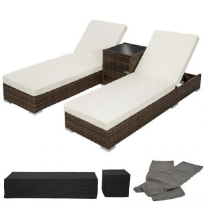 2108019 - Set 2 chaises longue + table + housses + housse de protection