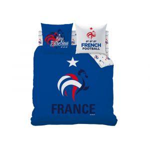 Cti Parure housse de couette coq France étoiles logo FFF (240 x 220 cm)