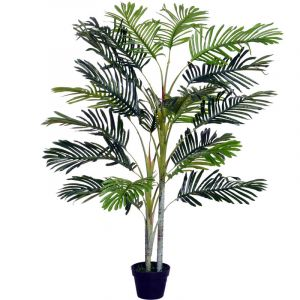 Outsunny Palmier artificiel hauteur 150 cm arbre artificiel décoration plastique fil de fer pot inclus vert