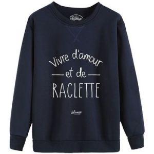 """Herschel Sweat-shirt Le Fabuleux Shaman Sweat """"Vivre d'amour et de raclette"""" bleu - Taille EU S,EU M,EU L,EU XL,EU XS"""
