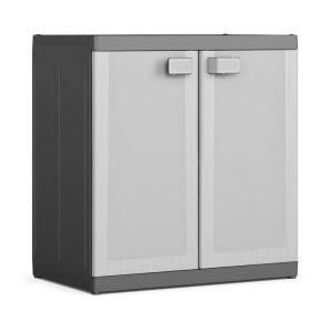 KIS Armoire de rangement basse Logico XL - 89 x 54 x 93 cm - Noir et gris - Dimensions : 89 x 54 x 93 cm - 2 tablettes réglables - Charge : 25 kg / tablette - Cadenassable - Noir et gris