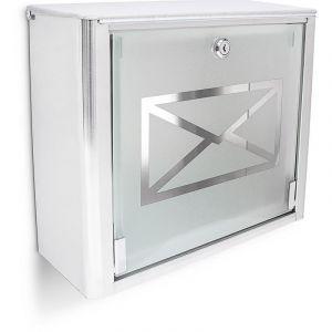 Relaxdays Boîte aux lettres murale en Inox avec porte en verre opal motif enveloppe 35,5 x 14 x 30,5 cm, métal gris argenté - 4052025185176