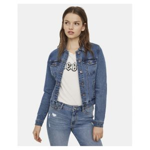 Vero Moda Vmhot SOYA Ls Jacket Mix Noos, Blouson Femme, Bleu Medium Blue Denim, 36 (Taille Fabricant: X-Small)