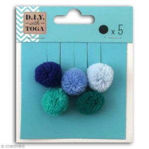 Toga D.I.Y with MBJ021, Lot de 5 Pompons Ronds, Laine, multicolore, 2 x 2 x 2 cm