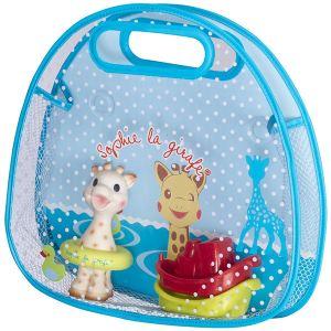 Vulli Set de bain Sophie la girafe : Panier + jouet de bain + 2 petits bateaux