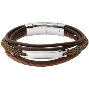 Fossil Bracelet Bijoux JF02703040 - Bracelet Vintage Acier Cuir Homme