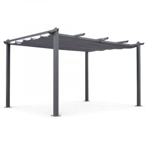 Alice's Garden Pergola aluminium 3x4m Condate avec toile grise - Tonnelle abri de terrasse