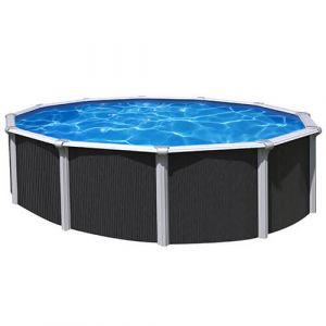 Abak Kit piscine hors sol ronde 3,9 m structure acier avec aspect bois OSMOSE- C9500 3.65 m : Anthracite