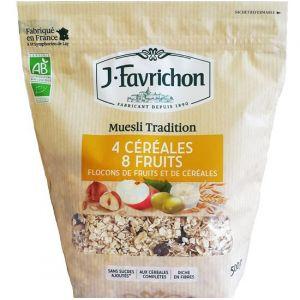Favrichon Muesli 4 céréales 8 fruits Bio 500g