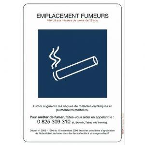Novap Panneaux de réglementation anti-tabac - emplacement fumeurs - 148 x 210 mm