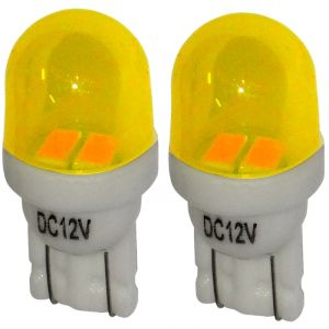 Aerzetix : 2x ampoule T10 W5W 12V 2LED SMD jaune éclairage intérieur plaque d'immatriculation seuils de porte plafonnier pieds lecteur de carte coffre compartiment moteur