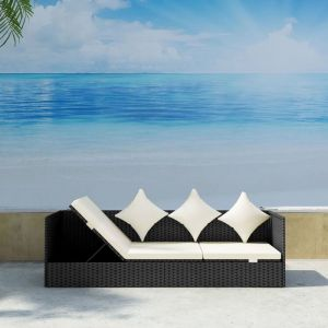 VidaXL Bain de soleil en polyrotin noir avec coussins d'assise et coussins