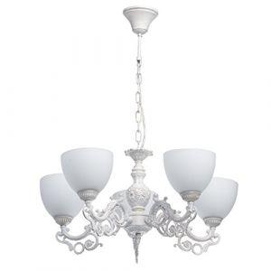 MW-Light 450016605 Lustre Suspension à 5 Bras Style Classique en Métal Blanc Abat-jours en Verre Mat pour Salle de Séjour Chambre 5x60W E27